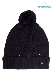 כובע גרב של Green Lamb דגם Inge בצבע שחור עם בטנת פליז