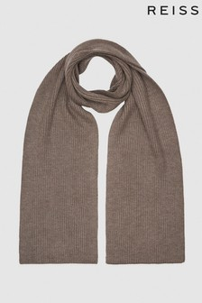 Reiss Brown Rafferty Ribbed Knitted Scarf