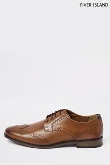 Svetlohnedé kožené topánky s vyrazeným vzorom River Island Roger