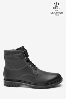 皮革鬆緊高筒靴