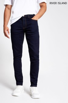 River Island Blue Dark Skinny Mountain Rinse Jeans