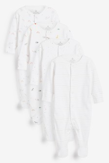 4 Pack GOTS Organic Bright Elephant Sleepsuits (0-2yrs)