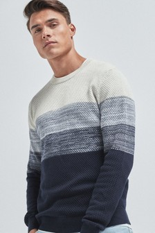 Textured Colourblock Cotton Crew Jumper