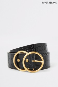 River Island Black Antique Double Ring J Belt