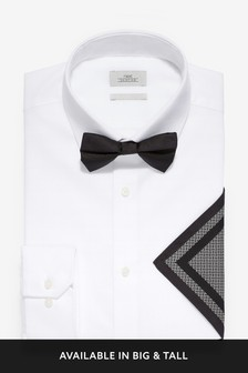 Wing Collar Shirt With Bow Tie And Pocket Square