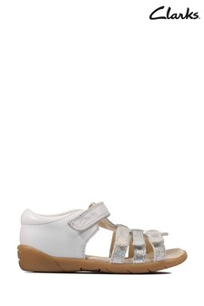 Clarks Black Leather Zora Spark T Sandals