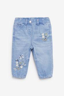 蝴蝶圖案鬆緊帶牛仔褲 (3個月至7歲)