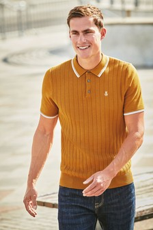 Vertical Stripe Texture Knitted Polo