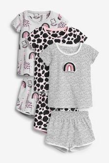 Set van 3 korte pyjama's met figuurtjes (9 mnd-8 jr)