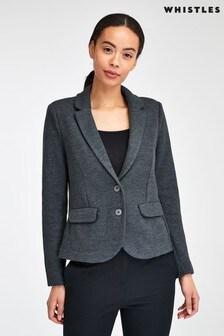 Whistles Grey Slim Jersey Jacket
