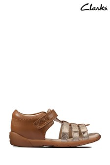 Clarks Tan Leather Zora Spark T Sandals