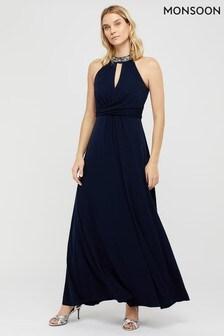 Monsoon Navy Izzie Embellished Jersey Maxi Dress