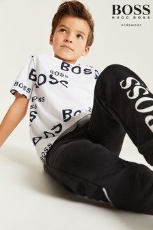 BOSS White Logo Print T-Shirt