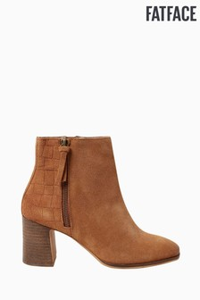 FatFace Tan Erin Emboss Detail Ankle Boots