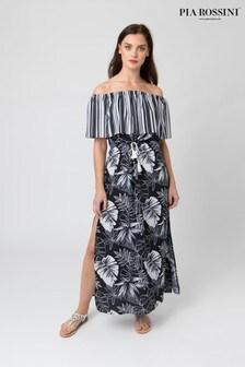 Pia Rossini Leaf Print Maxi Dress With Drawstring Waist