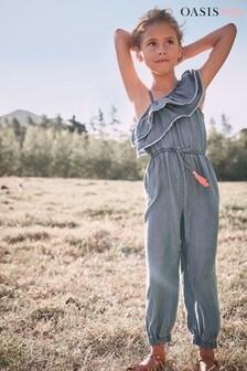 Oasis TENCEL™ Ruffle Asymmetric Jumpsuit