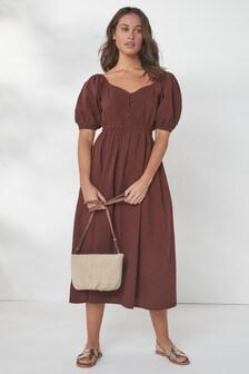 فستانمتوسط الطول بحافة رقبة رقيقة