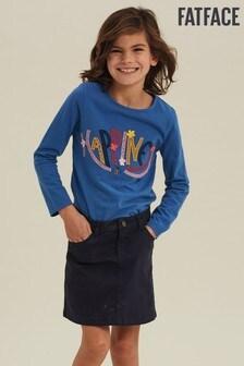 Modré tričko s obrázkom FatFace Happiness