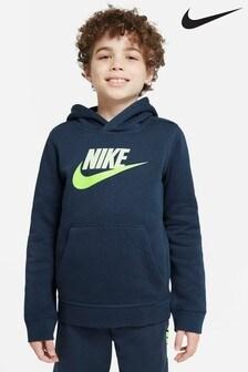 Сине-зеленая толстовка без молнии с капюшоном Nike