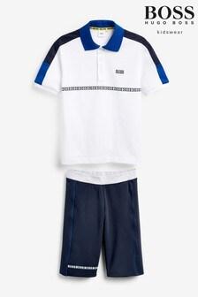 BOSS White/Blue Polo