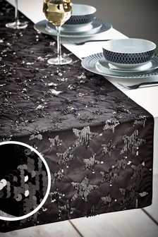 Star Embellished Velvet Table Runner