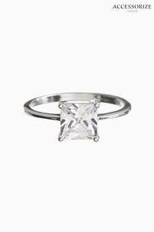 Accessorize Clear Princess Cut Solitaire Ring