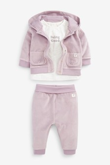 Velour Hoodie, Jogger And Jersey T-Shirt Set (0mths-2yrs)