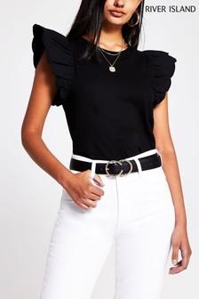 חולצת טי שחורה עם שרוול ארוג ושוליים מסולסלים שלRiver Island