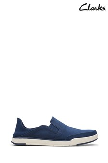Clarks Navy Canvas Step Isle Row Shoes