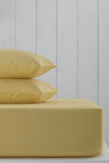 Yellow Cotton Rich Deep Fitted Sheet