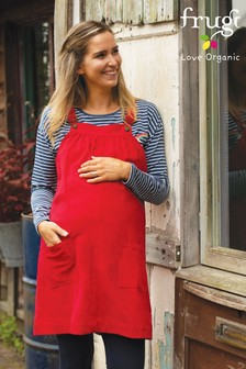 Frugi Organic Red Cord Maternity Pinafore Dress