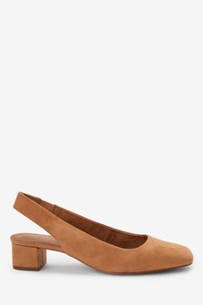 Leather Square Toe Slingbacks
