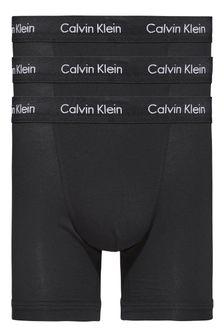 Набор из трех эластичных трусов-боксеров из хлопка Calvin Klein