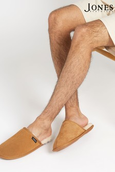 Jones Bootmaker棕色男裝羊毛襯裡毛毛拖鞋