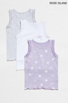 River Island Purple Light Mg Unicorn Star Print 3 Pack Vest
