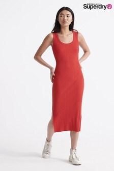 Superdry Red Midi Split Dress