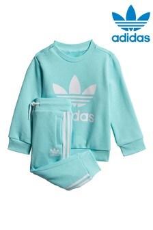 adidas Originals Infant Aqua Trefoil Crew And Joggers Set