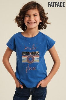 FatFace Blue Camera Graphic T-Shirt
