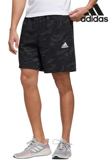 adidas通體印花黑色短褲