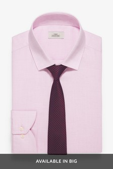 Slim Fit Easy Iron Shirt with Burgundy Tie