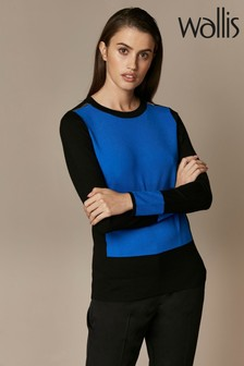 Wallis Blue Zip Shoulder Colourblock Jumper