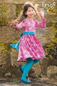 Frugi GOTS Organic Party Skater Dress - Pink Unicorns