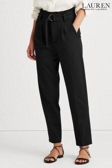 מכנסייםשחוריםבגזרה צרה עם קשירתפפיוןבמותןשלLauren Ralph Lauren