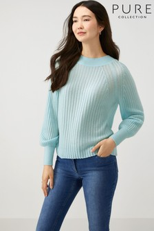 Pure Collection Green Lofty Cashmere Ribbed Sweater