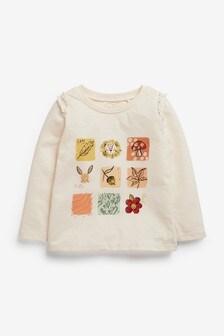 חולצת טי עם שרוול ארוך והדפסים סתוויים (3 חודשים עד גיל 7)
