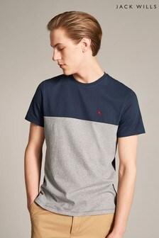 Jack Wills marineblauw Westmore T-shirt met kleurvlakken