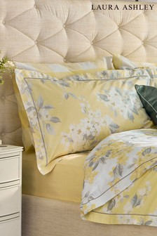 Set of 2 Laura Ashley Yellow Apple Blossom Oxford Pillowcases