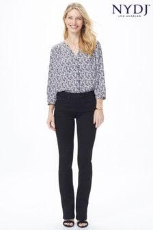 Czarne jeansy NYDJ Barbara z szerokimi nogawkami