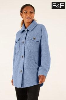 F&F Blue Bouclé Trucker Jacket