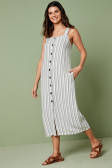 Linen Blend Midi Dress
